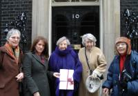 Lynne Featherstone MP presenting petition to 10 Downing Street about Hornsey Central Hospital