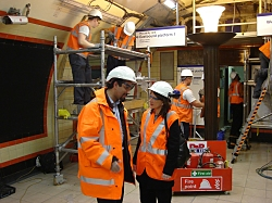 Lynne Featherstone MP seeing how Bounds Green tube station is being renovated