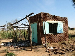 Destroyed health post in Darfur