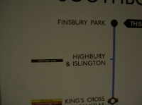 Sign at Finsbury Park station which puts Highbury and Islingtons station on the Northern Line