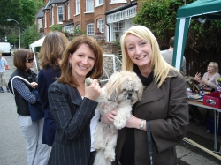 Lynne Featherstone MP with Grace Parker and Vegas - winner of the Hillfield Park dog agility Olympics