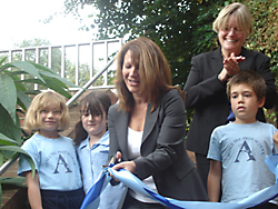 Lynne Featherstone MP cutting the tape for the new playground