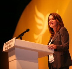 Lynne Featherstone speaking at conference. Photo credit: Alex Folkes/Fishnik.com