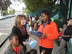 Lynne Featherstone campaigning against the £736 per pupil under-funding of Haringey schools
