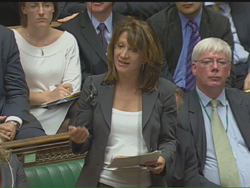 Lynne Featherstone asking the Prime Minister a question in Parliament