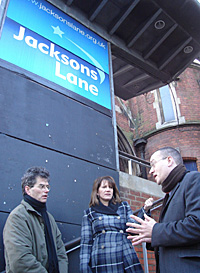 Lynne Featherstone MP with Cllr Bob Hare and Cllr Neil Williams at Jacksons Lane Community Centre
