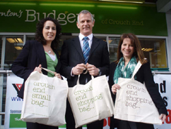 Lynne Featherstone, Brian Paddick and Monica Whyte promote a green alternative to plastic bags