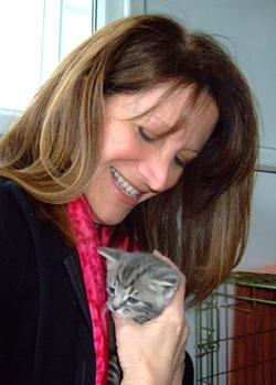 Lynne Featherstone with kitten