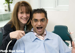 Lynne Featherstone and some dentistry equipment!
