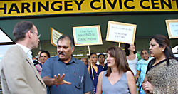 Robert Gorrie and Lynne Featherstone with protestors outside Haringey Civic Centre