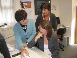 Lynne Featherstone with Lynne Tricia Ward and Gillian Gurner at the Employment Resource Centre
