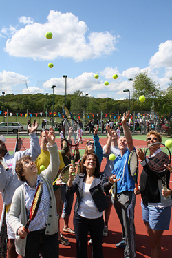 Lynne Featherstone, Lyn Weber and Jo Durie at the opening of new tennis courts in Highgate