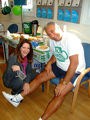 Lynne Featherstone waxing Steve Kalli's legs at Barclays Muswell Hill