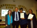 Lynne Featherstone MP with 5E director Raj Doshi and students Rachel Williams and Pauline Bailey celebrating the recent Beacon Award, Selby Centre, October 2009
