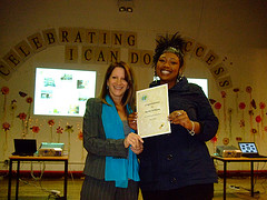 Lynne Featherstone MP presenting 5E student Rachel Williams with certificate of achievement