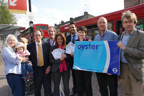 One hour bus ticket campaign with Lynne Featherstone and Caroline Pidgeon
