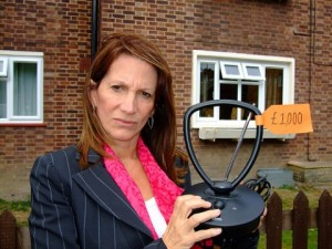 Lynne Featherstone with a digital aerial