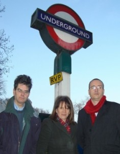 Lynne Featherstone with local councillors Bob Hare and Neil Williams at Highgate tube station