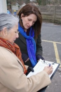 Lynne Featherstone collecting Northern Line petition signatures