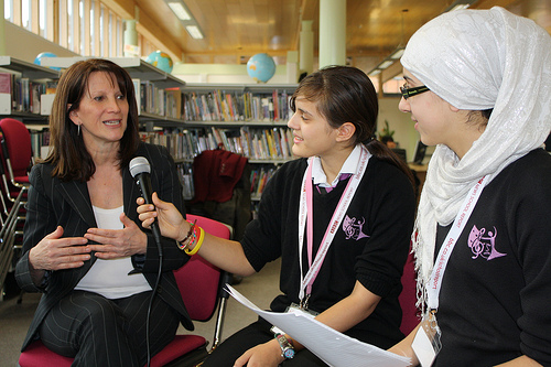 Lynne Featherstone interviewed by, from the left, Carenza Grant and Lina Chakri