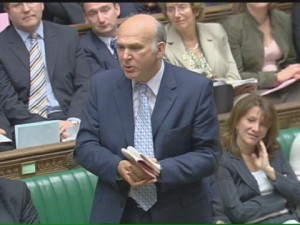 Vince Cable speaking in Parliament