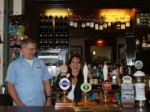 Lynne with 3 Compasses landlord Nigel Oxford