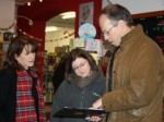Lynne Featherstone and Cllr Robert Gorrie with trader Lucy