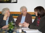 Lynne Featherstone MP speaking to concerned luncheon club users at Abyssinia Court last Friday