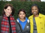Lynne Featherstone MP with service user Samina and Haringey Catch 22 manager Angela Francis