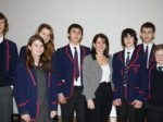 Lynne Featherstone with year ten students from Highgate School