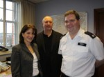 Lynne Featherstone and Cllr Martin Newton with acting Borough Commander Chris Barclay