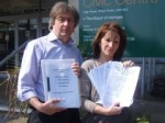 Cllr David Winskill and Lynne Featherstone handing in the petition and consultation response