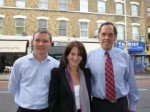 Lynne Featherstone MP and from the left Paul Mercer and James McNally from Ofcom's spectrum enforcement team.