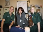 Curtis Rutter, Volunteer Community First Responder, Lynne Featherstone MP and Community Resuscitation Officer Sarah Dale