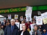 (from left to right) Cllr Jim Jenks, Dawn Barnes (Enfield Liberal Democrats) and Cllr Juliet Solomon with the Pinkham Way protestors on the steps of Wood Green Civic Centre on 18th July 2011