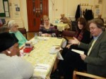 Lynne Featherstone MP and Cllr David Winskill with luncheon club users at Woodside House, Wood Green.