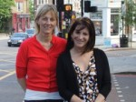 photo of Lynne Featherstone MP and Councillor Rachel Allison at the crossing with the newly installed pedestrian count-down.