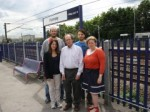 Lynne with Councillor David Schmitz and local campaigners at Hornsey station