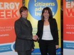Lynne Featherstone MP at the launch of Citizens Advice Bureau's Big Energy Week, with CAB boss Gillian Guy, Westminster, January 2012