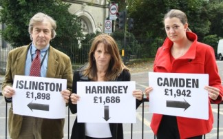 Councillor David Winksill, Lynne Featherstone MP and activist Jenni Hollis at the Junction of Hornsey Lane and Highgate Hill –where the boroughs of Haringey, Islington and Camden meet. The picture demonstrates the amount the respective borough receive per resident for 2012/13.