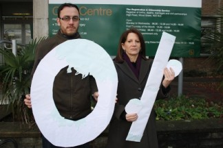 Lynne and Councillor Paul Strang campaigning for a council tax freeze last year