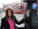 Lynne Featherstone MP at a ticket machine on Muswell Hill Broadway.