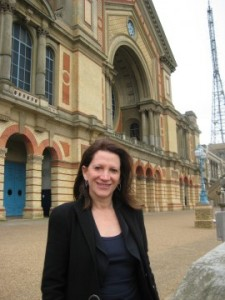 Lynne Featherstone MP at Alexandra Palace, with the television tower in the background