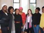 Lynne Featherstone MP at Braemar Avenue Baptist Church with Project Coordinator Margaret Bonney, Secretary Belinda Dumoga