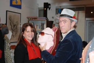 Lynne Featherstone and Gallery owner Jonny Rogers, at the Gallery on Hornsey High Street