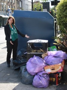 Lynne Featherstone MP with a pile of dumped rubbish