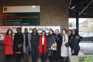 Lynne Featherstone, with Ben Simms, Director, UK AIDS Consortium and other meeting participants outside the Winkfield Centre, Winkfield Road N22