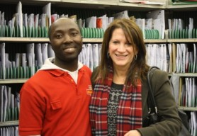 Lynne Featherstone MP and local Postman in Wood Green Delivery Office