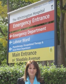 Lynne Featherstone MP outside the Whittington Hospital