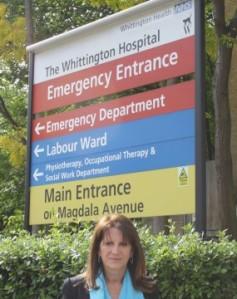 Lynne Featherstone MP outside the Whittington Hospital